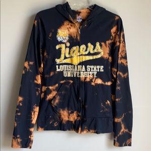 LSU bleached tie dye up-cycled black zip up hoodie